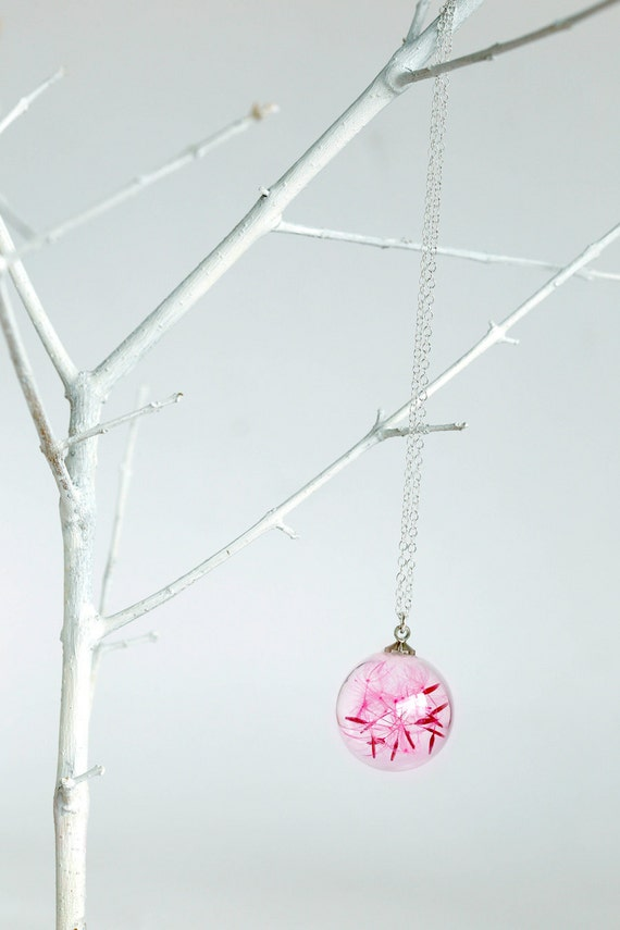 Pink Dandelion sterling silver necklace glass orb round make a wish Seed Flower Botanical bead nature