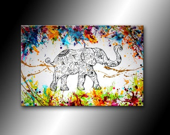 PAINTING abstract modern, colorful and unique canvas 60 x 90 cm - Elephant