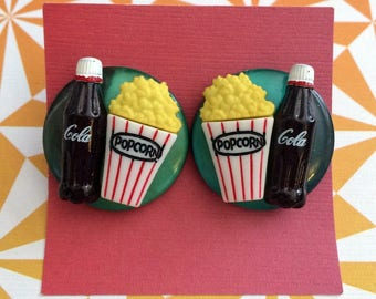 Movie Snack Earrings - Movies Cinema Popcorn Soda Cola Food Cute Jewelry Gifts for Her Theatre Snacks Kitschy Quirky