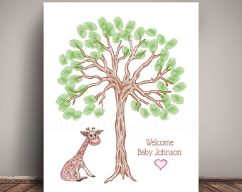 Giraffe thumbprint Baby Shower Guest Book for Jungle Nursery, Thumbprint Tree, Giclee Print