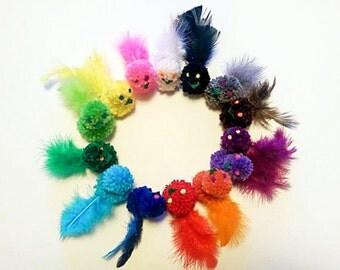 Pom Pom Bird Cat Toys, Set of 3, Catnip Toys, Catnip Birds, Kitten Toys, Feather Cat Toys, Valerian, Silver Vine, Toys for Cats
