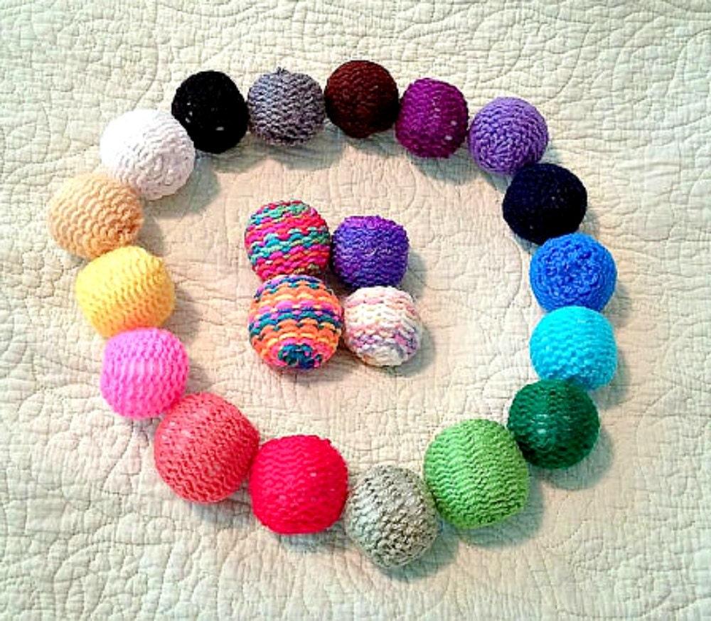 Cat Toys Balls : Knitted ball cat toys set of balls catnip