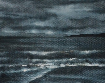 Night Walk - Original oil on canvas seascape painting by Sam Lyle