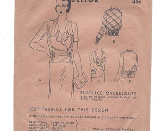 1920s Butterick 3859, Surplice Overblouse, Hip Length, Waist Ties to Back, Delineator Style, New Deltor, Bust 32
