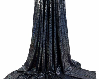 Full Length High Waist Puddle Train Skirt in Holographic Black Mermaid Dragon Scale (SKIRT ONLY) 154151