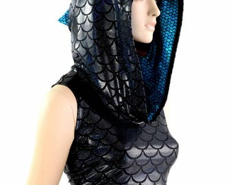 Black Dragon Scale Sleeveless Dragon Crop Hoodie with Aquamarine Fish Scale Hood Liner & Spikes 154397