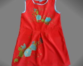 Girls hand painted silk dress. Summer dress for girls. Red dress for a little girl. Floral dress for girl. Ready to ship.