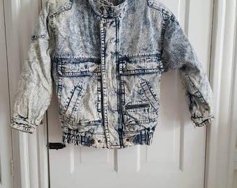 1980's-90's Vintage Acid Washed Jean Coat Jacket Men's