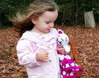 Crocheted Kitty Cat Lovie Lovey Baby Blanket Girl Blankie