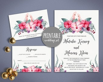 Tropical Wedding Invitation Pink Floral Wedding Invitation Printable Summer Beach Wedding Invite, Destination Wedding Invitation Suite