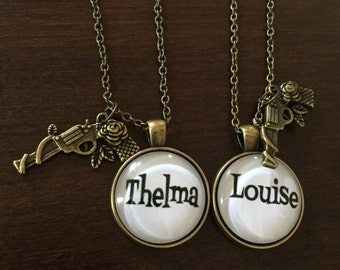 thelma and louise, thelma and louise necklace, thelma louise, thelma louise gifts, partners in crime, best friend necklace, best friend