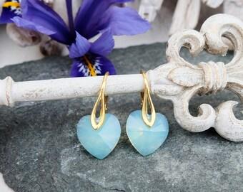 Green opal heart crystal earrings Opal heart jewellery Silver gold drop bridesmaids earrings Bridesmaids gift Green small kids earrings