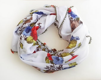 Floral scarf - Boho scarf Tribal scarf Square scarf Unique handmade scarf Turkish scarf Gift for women Valentine's day gift Oya scarf