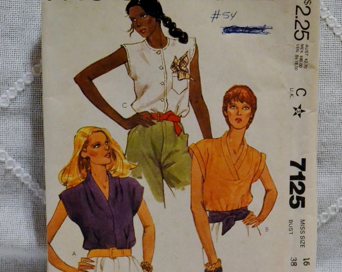 Vintage McCalls 7125 Sewing Pattern Misses Blouses Size 16 Crafts  DIY Sewing Crafts PanchosPorch