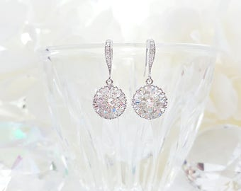 CZ Drop Earrings, Round LUX Cubic Zirconia Dangle Earrings, Simple Classic Bridal Jewelry, Bridesmaid Ask Earrings, CZ Wedding Gift, E2016