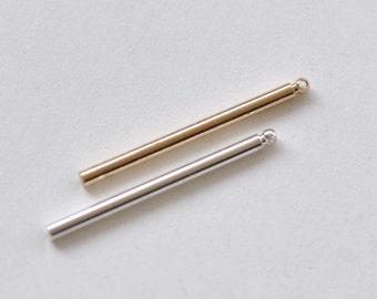 Shiny Silver/Anti Tarnish Champagne Gold Plated Round Bar Rod Pendants 30mm 12 Gauge Set of 10