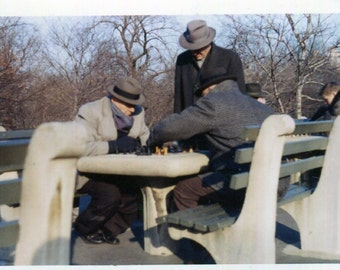 Vintage Color Photo..Open Air Chess in the Park NYC, 1950's Original Found Photo, Vernacular Photography, American Social History Photo