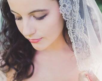 mantilla veil, gold wedding veil, gold lace veil, gold chantilly veil, gold mantilla veil, lace edge veil, gold bridal veil - ALMUDENA