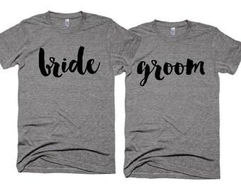 Wedding Tshirts - bride t-shirt - groom t-shirt - Wedding Photo shoot Props - Cliche Zero