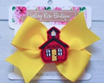 "Large 4"" back to school first day of school chalkboard schoolhouse feltie theme hair bow hairbow graduation kindergarten first grade"