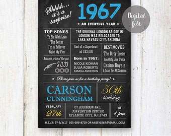 Surprise 50th Birthday Invitations | Chalkboard 50th birthday invitation for him dad father best boss | Fun facts 1967 DIGITAL file!