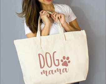"""Copper/Gold Dog Mama: 100% Natural Cotton Canvas 22""""W x 15""""L x 5""""D with Interior Zippered Pocket  and Bottom Gusset- By Alicia Cox/ Ellafly"""