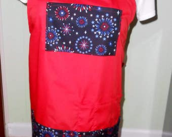 Fireworks apron Red fireworks apron patriotic aprons Adult aprons red aprons Red fireworks pocket apron Red aprons 29 X 29 inches