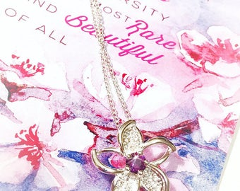 Cherry Blossom necklace inspired by Mulan With Purple zircon cartoon Disney