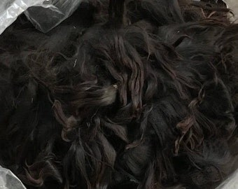 raw suri alpaca fiber - natural black