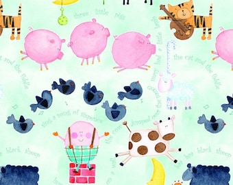 Comfy Flannel, Nursery Rhyme, Animal Flannel - AE Nathan - N 0693 11  - Priced by the half yard