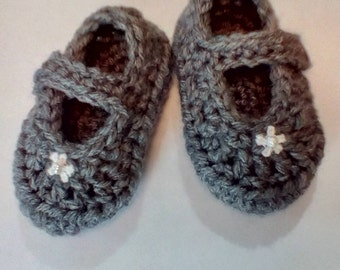Handmade Mary Jane Baby Booties Crocheted Baby Shoes Crib Shoes
