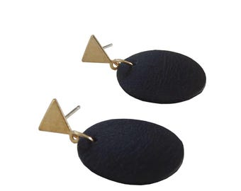 Black Leather Circle and Triangle Earrings; Brass and Leather Earrings; Leather Jewelry; Stud Earrings; Dangle Earrings; Leather Earrings