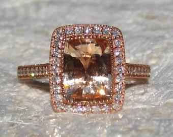 Peach Sapphire Engagement Ring, 2 Carat Cushion Peach Sapphire in Rose Gold Milgrain Bezel Diamond Halo Engagement Ring