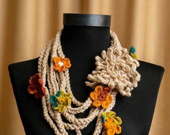 Long Boho Necklace, Crochet Lariat Necklace, bohemian crochet lariat, Flowers and Leaves, Lariat, flower scarf, Skinny Bohemian scarf