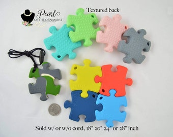 Puzzle silicone teether Autism awareness chew necklace boy girl toddler baby sensory necklace nursing necklace chewelery teething toy Jigsaw