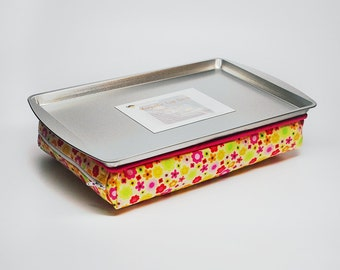 Yellow Lap Desk with Flowers - Yellow Lap Desk - Lap Desk with Flowers - Kid's Travel Toy - Kid's Lap Pillow - Birthday Gift for Girls