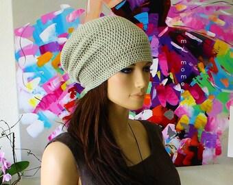 Crochet Beanie Cap Cotton Pastel lime green