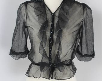 1930's 1940's Sheer Black Blouse - UK 6 or 8