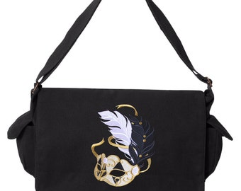 Harlequin Masquerade - Mask, Theater Bag, Theater Messenger Bag, Theater School Bag, Messenger Bag Embroidered Canvas Cotton Messenger Bag