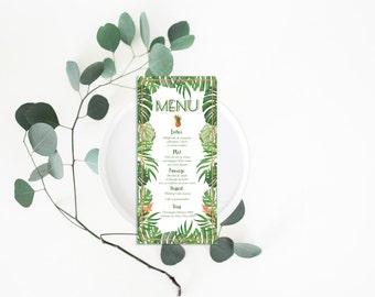 Printable Wedding Menu - Wedding Menu Card - Wedding Menu - Menu Card - Printable Menu - Tropical Wedding Menu - Botanical Menu Exotic