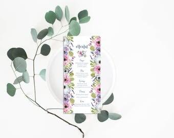 Flowers Wedding Menu Card - Wedding Menu - Flowers Wedding Invitation - Rustic Wedding - Menu Card for wedding or party - Wedding Table