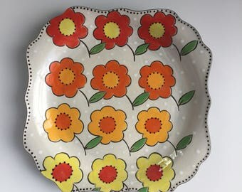 Square Dinner Plate with handpainted orange floral pattern Colleen McCall Ceramics colorful hand-painted stoneware pottery