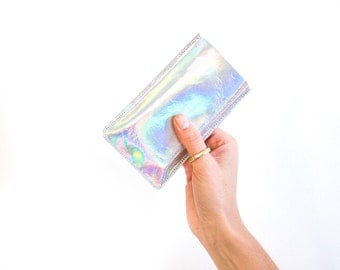 Iridescent iPhone 7 Leather Sleeve, Hologram Mobile Pouch, Iridescent Smart Phone Sleeve, Holographic iPhone 6 Case, Rainbow Leather Pouch
