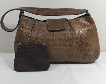 Georgio Armani, Purse, Bag, Croc Embedded, Shoulder Bag, Tan Leather
