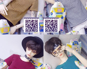 BJD SD13 1/3 SD SD17 yellow turquoises blue green black and white red strips t shirt tee tshirt 4 colours