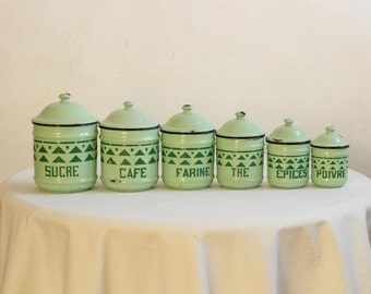 French Art Deco Six Piece Enamel Canister Set in French Vintage Kitchen Green / Circa 1930's / Époque Vintage