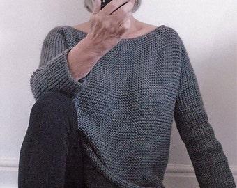 Aran Garter Stitch Tee Sweater. PDF Knitting Pattern to Download