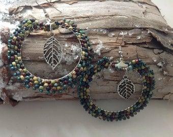 Brick stitch earrings, hoop earrings, multi color earrings, dangle earrings, leaf earrings, seed bead earrings, Picasso color earrings
