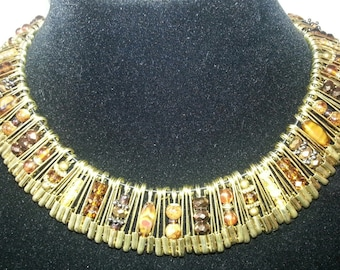 Safety Pin Necklace in Gold & Brown
