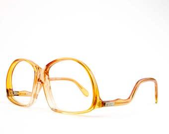 Vintage Glasses | 70s Retro Oversized Eyeglass Frame | NOS 1970s Clear Amber Eyeglasses | Vintage Deadstock - Foxy Lady